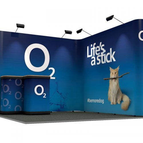 3m x 3m Exhibition Stand L Shape Linked Pop Up Stands