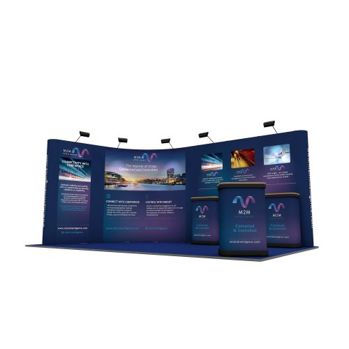 5m x 3m Curved Pop Up Stand Linked